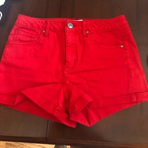 Red High Rise jean shorts